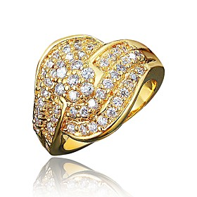 Women's Clear Cubic Zirconia Classic Ring 18K Gold Plated Imitation Diamond Stylish Luxury Romantic Fashion Elegant Ring Jewelry Gold / Silver For Party Engage