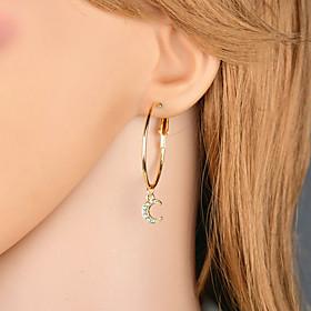 Women's Cubic Zirconia Mismatch Earrings Imitation Diamond Earrings Moon Star European Fashion Modern Jewelry Gold For Street Club Bar 2 Pairs