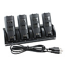 4-Port USB Charging Station  4x1800mAh Rechargeable Batteries for Wii/Wii U Remote (Black)