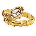 Womens Gold Snake Style Alloy Quartz Analog Bracelet Watch