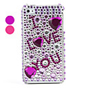 I LOVE YOU Pattern ,PVC Case with Crystals Cover for iPhone 4, 4S