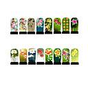 12pcs Nail Foil Art Armour Wraps Patch Stickers-Green Series