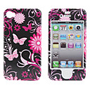 Protective Smooth Polycarbonate Front and Back Case for iPhone 4 and iPhone 4S (Purple Butterfly)