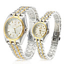 Pair of Alloy Analog Quartz Couples Watches with Silver Face (Silver and Gold)