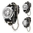 Mens Punk Style Skull Pattern Black PU Band Quartz Wrist Watch (Assorted Colors)