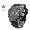 Mens Casual Style Black Silicone Band Quartz Wrist Watch (Assorted Colors)