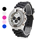 Women's Diamante Silver Case Silicone Band Quartz Analog Wrist Watch (Assorted Colors)