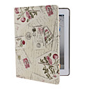 Flowers Pattern PU Leather Case with Stand for iPad 2/3/4 (White)