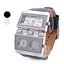 Mens  PU Analog Quartz Wrist Watch (3 Time Zone, Assorted Colors)