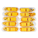 10 Yellow Plastic Whistles with Plastic Case (Yellow)