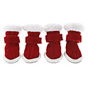 Christmas Santa Claus Style Nylon fastener tape Shoes for Dogs(Red,XS-XL)