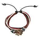 Fabric and Leather Bracelet Ethnic Fusion Multilayer Vintage Bracelet with Clover