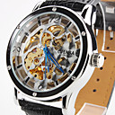 Mens PU Analog Mechanical Wrist Watch with Hollow Engraving (Black)
