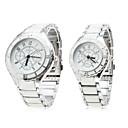 Pair of Alloy Analog Quartz White Face Couple Watches (Silver-White)