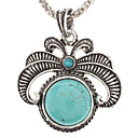 Vintage Flower Pattern Turquoise Pendant Necklace
