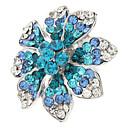 Flower Pattern Metal Fully-jeweled Adjustable Ring