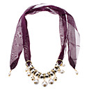 Purple Pearl Short Scarf Necklace