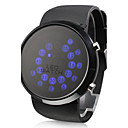 Mens Watch Blue LED Roll Ball Style Display Silicone Strap