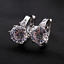 BaoGuangSilver Plated Alloy Diamond Shaped Crystal Earrings