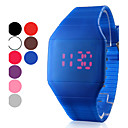 Mens Watch Red LED Digital Square Rubber Band