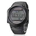 Mens Multi-Functional Round Dial Black Rubber Band Quartz Analog Wrist Watch
