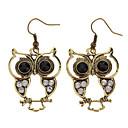 (1pair)Vintage Owl Bronze Alloy Drop Earrings