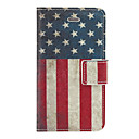 Vintage US Flag Pattern PU Full Body Case with Card Slot and Stand for iPhone 4/4S