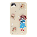 Cartoon Style a wooden Girl and Little Diamonds Covered Hard Case for iPhone 4/4S