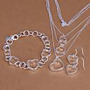 Sweet Silver Plated (Necklace  Bracelet  Earrings) Jewelry Set (Silver)
