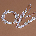 Sweet Silver Plated (Necklace  Bracelet) Jewelry Set (Silver)