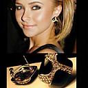 (1 Pair) European Black Alloy Stud Earrings(Black)