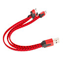 3-in-one 8-Pin, 30-Pin and Micro USB Connectors to USB Flat Hemp Cable for iPhone and Others (18cm,Assorted Colors)