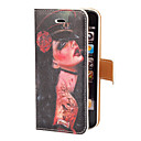 Cool and Scary Tattoo Girl Pattern PU Full Body Case with Card Slot and Stand for iPhone 5/5S