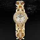 WomenS White Simple Dial Crystal Gold Silver Alloy Bracelet Quartz Watch
