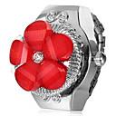 Womens Flower Cover Silver Alloy Quartz Ring Watch (Assorted Colors)