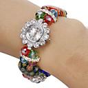 Womens Diamante Flower Pattern Colorful Crystal Band Quartz Analog Bracelet Watch