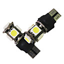 Error Free T10 Canbus W5W 194 5050 SMD 5 LED White Light Bulbs (1 Pair)