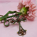 Lureme Gothic Style Vintage Cross Pendant Long Necklace