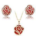 Rose Flower Earrings  Necklace Jewelry Set
