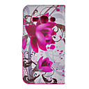 Purple Flower Drawing Pattern PU Leather Plastic Hard Back Cover Pouches for Samsung S7272