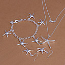 Sweet Silver Plated (Necklace  Bracelet  Earrings) Jewelry Set (Silver)