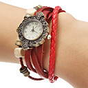 Unisex White Dial Weave Leather Band Quartz Analog Bracelet Watch