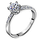 Hot Fashion Silver Wedding Rings with Shiny Zircon Stone