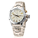Mens Silver Case Steel Band Quartz Analog Wrist Watch (Assorted Colors)