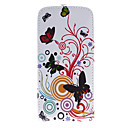 Butterfly and Flower Pattern PU Leather Full Bady Case for iPhone 5/5S