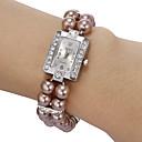 Womens Diamante Square Dial Peal Band Quartz Analog Bracelet Watch (Assorted Colors)