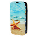 Starfish On Beach Drawing Pattern Hard Cover and Faux Leather Pouch for Samsung Galaxy S4 I9500