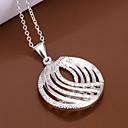 Sweet (Oval Pendant) Silver Copper Pendant Necklace(White) (1 Pc)