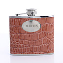 Personalized Gift Orange 5oz PU Leather Capital Letters Flask