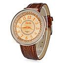 Womens Round Khaki Dial PU Band Quartz Analog Wrist Watch (Assorted Colors)